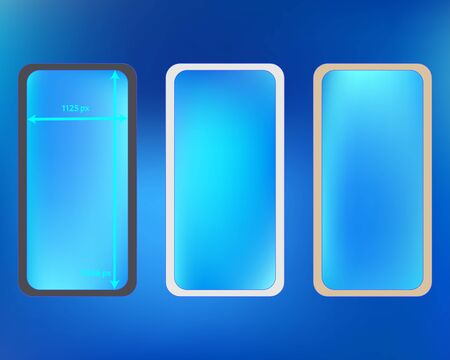 Mesh, azure colored phone backgrounds kit. Funny screen design set, isolated background. Funny backdrop. New separated groups, easy to edit. 2436x1125 ratio. Иллюстрация