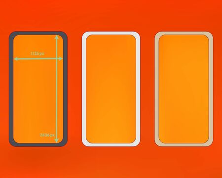 Mesh, orange red colored phone backgrounds kit. Liquid screen design set, isolated background. Common backdrop. Net separated groups, easy to edit. 2436x1125 ratio.