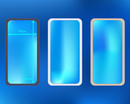 Mesh, azure colored phone backgrounds kit. Funny backdrop. Ordinary screen design set, isolated background. Fresh separated groups, easy to edit. 2436x1125 ratio.