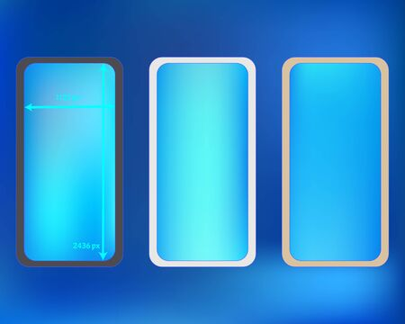 Mesh, azure colored phone backgrounds kit. Funny backdrop. Liquid screen design set, isolated background. New separated groups, easy to edit 2436x1125 ratio.