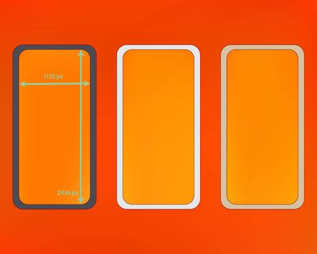 Mesh, orange red colored phone backgrounds kit. Breezy separated groups, easy to edit. Plain screen design set, isolated background. Creative backdrop. 2436x1125 ratio.