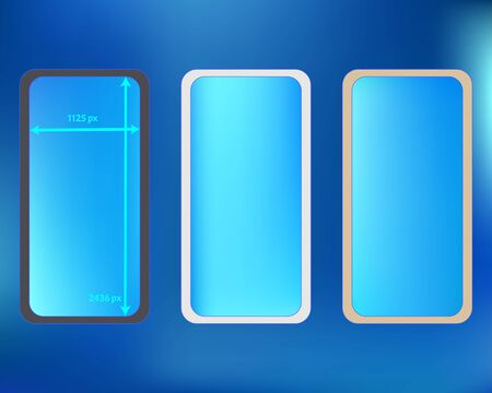 Mesh, azure colored phone backgrounds kit. Clean separated groups, easy to edit. Usefull screen design set, isolated background. Funny backdrop. 2436x1125 ratio.