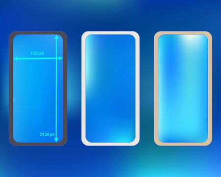 Mesh, azure colored phone backgrounds kit. Liquid screen design set, isolated background. Crisp separated groups, easy to edit. Plain backdrop. 2436x1125 ratio.