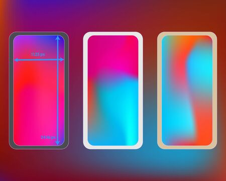 Mesh, multicolor phone backgrounds kit. Minimal backdrop. Funny screen design set, isolated background. Recent separated groups, easy to edit. 2436x1125 ratio.