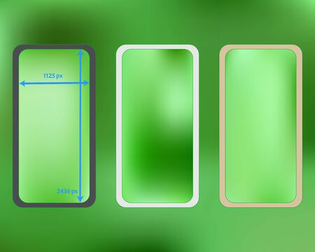 Mesh, lime colored phone backgrounds kit. Minimal backdrop. Plain screen design set, isolated background. Clear separated groups, easy to edit. 2436x1125 ratio.