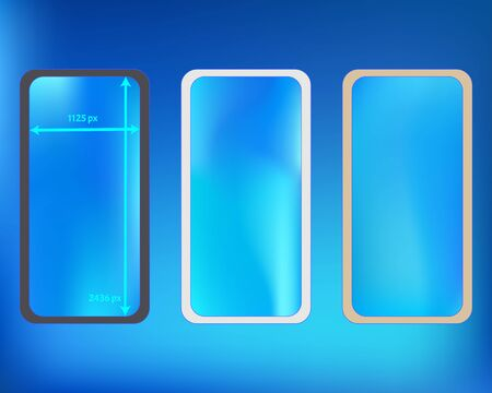 Mesh, azure colored phone backgrounds kit. Funny screen design set, isolated background. Net separated groups, easy to edit. Funny backdrop. 2436x1125 ratio.