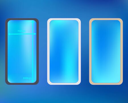 Mesh, azure colored phone backgrounds kit. New separated groups, easy to edit. Plain backdrop. Ordinary screen design set, isolated background. 2436x1125 ratio. Иллюстрация