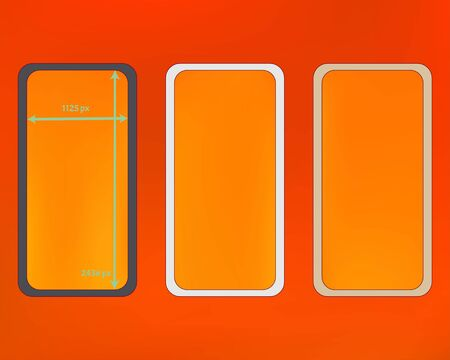 Mesh, orange red colored phone backgrounds kit. Professional screen design set, isolated background. Common backdrop. Clear separated groups, easy to edit. 2436x1125 ratio.