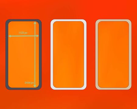 Mesh, orange red colored phone backgrounds kit. Elementary backdrop. Breezy separated groups, easy to edit. Plain screen design set, isolated background. 2436x1125 ratio. Иллюстрация