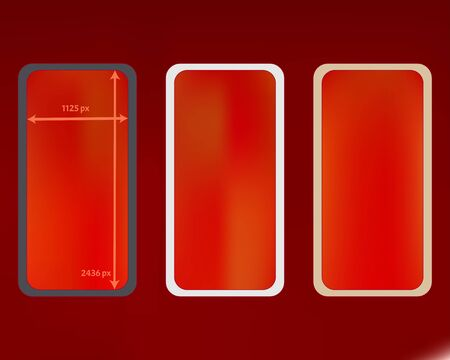 Mesh, red colored phone backgrounds kit. Professional backdrop. Net separated groups, easy to edit. Elementary screen design set, isolated background. 2436x1125 ratio.