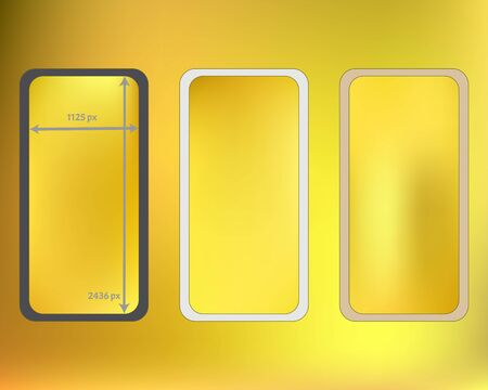 Mesh, gold colored phone backgrounds kit. Net separated groups, easy to edit. Elementary backdrop. Elementary screen design set, isolated background. 2436x1125 ratio.