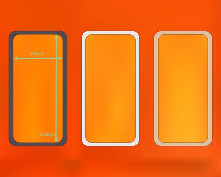 Mesh, orange red colored phone backgrounds kit. Liquid backdrop. Plain screen design set, isolated background. New separated groups, easy to edit. 2436x1125 ratio.