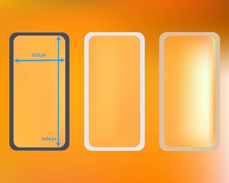 Mesh, multicolor phone backgrounds kit. Pristine separated groups, easy to edit. Useful backdrop. Useful screen design set, isolated background. 2436x1125 ratio.  イラスト・ベクター素材