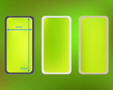Mesh, green colored phone backgrounds kit. Plain screen design set, isolated background. Pure separated groups, easy to edit. Minimal backdrop. 2436x1125 ratio.