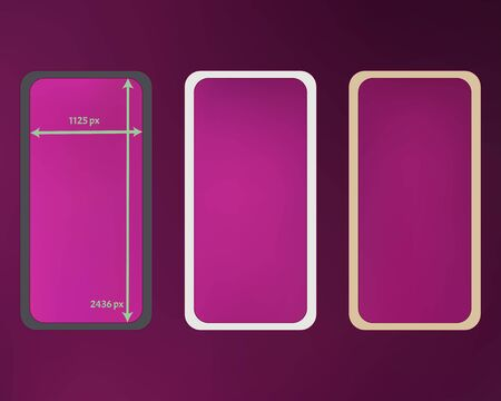Mesh, magenta colored phone backgrounds kit. Ordinary backdrop. Liquid screen design set, isolated background. Crisp separated groups, easy to edit. 2436x1125 ratio. Иллюстрация