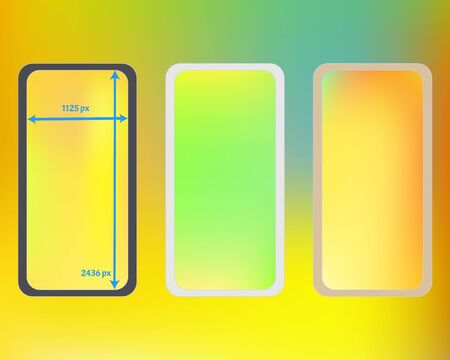 Mesh, multicolor phone backgrounds kit. Liquid backdrop. Minimal screen design set, isolated background. Net separated groups, easy to edit. 2436x1125 ratio.