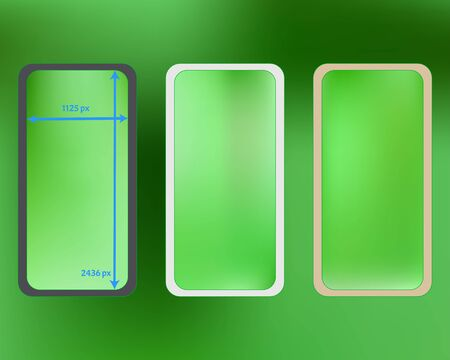 Mesh, lime colored phone backgrounds kit. Clean separated groups, easy to edit. Minimal screen design set, isolated background. Funny backdrop. 2436x1125 ratio. Иллюстрация