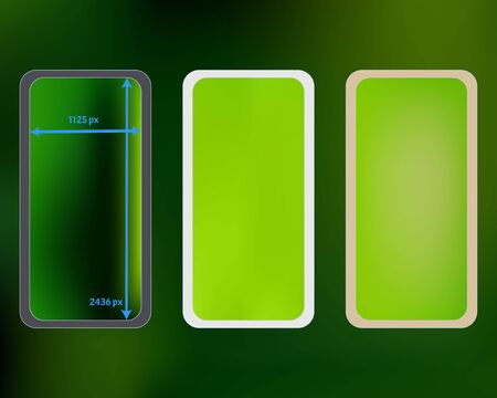Mesh, green colored phone backgrounds kit. Minimal screen design set, isolated background. Creative backdrop. Fresh separated groups, easy to edit. 2436x1125 ratio.