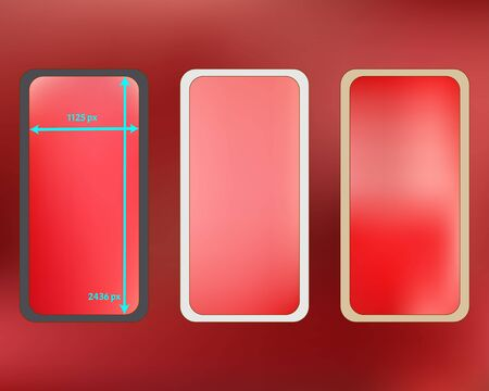 Mesh, coral colored phone backgrounds kit. Professional screen design set, isolated background. Crisp separated groups, easy to edit. Minimal backdrop. 2436x1125 ratio.