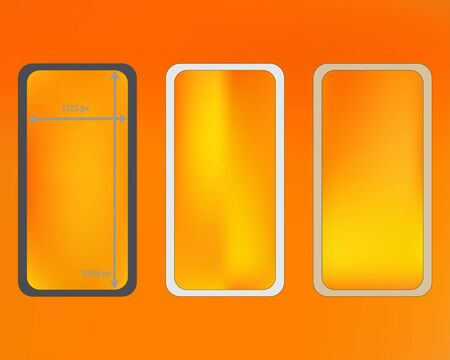 Mesh, yellow colored phone backgrounds kit. Liquid screen design set, isolated background. Funny backdrop. Clear separated groups, easy to edit. 2436x1125 ratio.