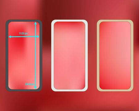 Mesh, coral colored phone backgrounds kit. Plain screen design set, isolated background. Breezy separated groups, easy to edit. Minimal backdrop. 2436x1125 ratio.  イラスト・ベクター素材