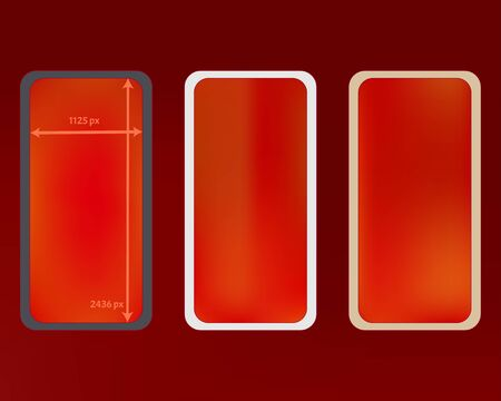 Mesh, red colored phone backgrounds kit. Clean separated groups, easy to edit. Minimal screen design set, isolated background. Useful backdrop. 2436x1125 ratio.