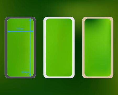 Mesh, green colored phone backgrounds kit. Minimal screen design set, isolated background. Clear separated groups, easy to edit. Ordinary backdrop. 2436x1125 ratio.
