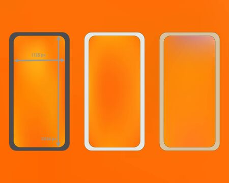 Mesh, yellow colored phone backgrounds kit. Common screen design set, isolated background. Liquid backdrop. Crisp separated groups, easy to edit. 2436x1125 ratio.
