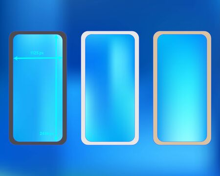 Mesh, azure colored phone backgrounds kit. Cool separated groups, easy to edit. Elementary screen design set, isolated background. Ordinary backdrop. 2436x1125 ratio.