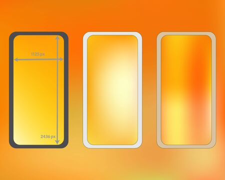 Mesh, yellow colored phone backgrounds kit. Funny backdrop. Creative screen design set, isolated background. Cool separated groups, easy to edit. 2436x1125 ratio.