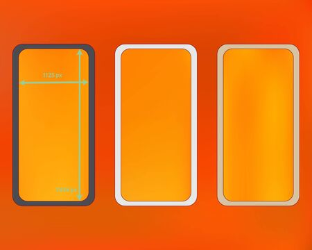 Mesh, orange red colored phone backgrounds kit. Minimal screen design set, isolated background. Ordinary backdrop. Clear separated groups, easy to edit. 2436x1125 ratio. Иллюстрация