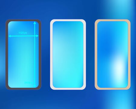 Mesh, azure colored phone backgrounds kit. Elementary screen design set, isolated background. Elementary backdrop. Pure separated groups, easy to edit. 2436x1125 ratio. Иллюстрация