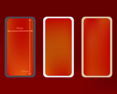 Mesh, red colored phone backgrounds kit. Common screen design set, isolated background. New separated groups, easy to edit. Minimal backdrop. 2436x1125 ratio.