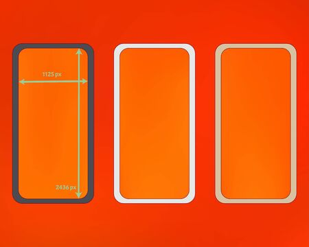 Mesh, orange red colored phone backgrounds kit. Common backdrop. Crisp separated groups, easy to edit. Liquid screen design set, isolated background. 2436x1125 ratio.