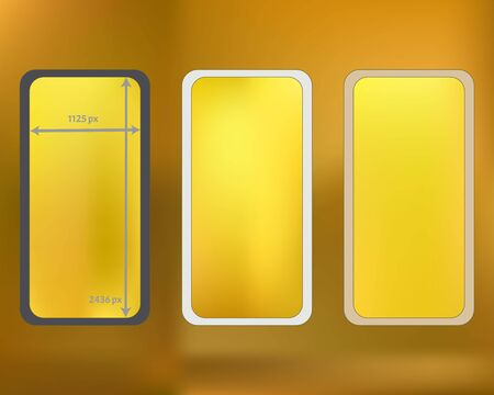 Mesh, gold colored phone backgrounds kit. Minimal backdrop. Funny screen design set, isolated background. Net separated groups, easy to edit. 2436x1125 ratio.  イラスト・ベクター素材