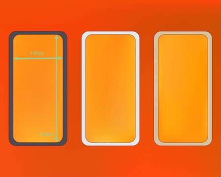 Mesh, orange red colored phone backgrounds kit. Creative backdrop. Elementary screen design set, isolated background. Clean separated groups, easy to edit. 2436x1125 ratio.
