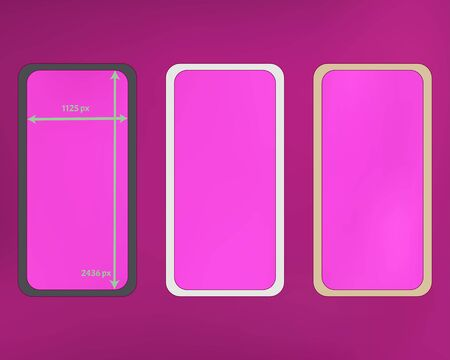 Mesh, magenta colored phone backgrounds kit. Plain screen design set, isolated background. Plain backdrop. Breezy separated groups, easy to edit. 2436x1125 ratio.  イラスト・ベクター素材