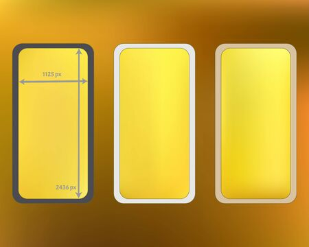 Mesh, gold colored phone backgrounds kit. Pure separated groups, easy to edit. Professional backdrop. Funny screen design set, isolated background. 2436x1125 ratio. Иллюстрация