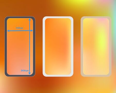 Mesh, multicolor phone backgrounds kit. Plain backdrop. Professional screen design set, isolated background. Recent separated groups, easy to edit. 2436x1125 ratio.