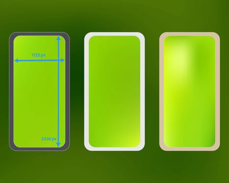 Mesh, green colored phone backgrounds kit. Fresh separated groups, easy to edit. Liquid screen design set, isolated background. Common backdrop. 2436x1125 ratio.