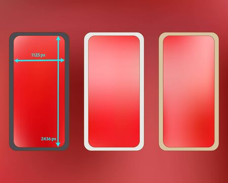 Mesh, coral colored phone backgrounds kit. Plain backdrop. Common screen design set, isolated background. Clear separated groups, easy to edit. 2436x1125 ratio.