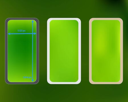Mesh, green colored phone backgrounds kit. Clear separated groups, easy to edit. Useful screen design set, isolated background. Ordinary backdrop. 2436x1125 ratio.