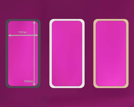 Mesh, magenta colored phone backgrounds kit. Recent separated groups, easy to edit. Useful screen design set, isolated background. Plain backdrop. 2436x1125 ratio.