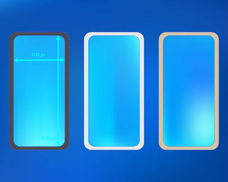 Mesh, azure colored phone backgrounds kit. Plain screen design set, isolated background. Minimal backdrop. Crisp separated groups, easy to edit. 2436x1125 ratio.