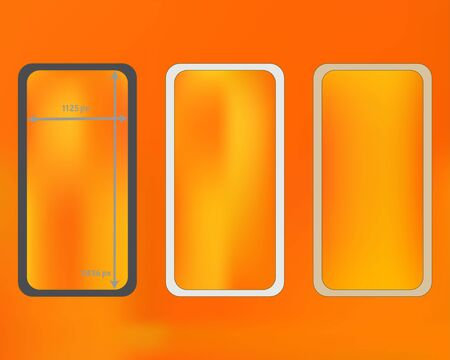 Mesh, yellow colored phone backgrounds kit. Usefull backdrop. Pristine separated groups, easy to edit EPS. Minimal screen design set, isolated background. 2436x1125 ratio. Иллюстрация