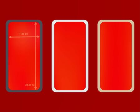 Mesh, red colored phone backgrounds kit. Professional screen design set, isolated background. Pure separated groups, easy to edit. Useful backdrop. 2436x1125 ratio.