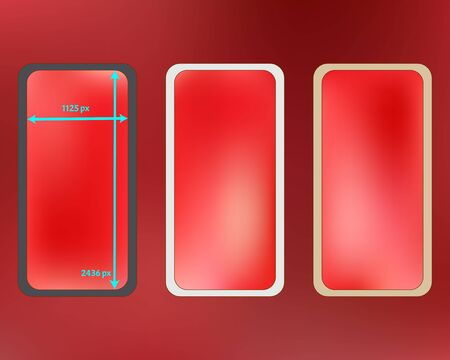 Mesh, coral colored phone backgrounds kit. Clear separated groups, easy to edit. Creative backdrop. Plain screen design set, isolated background. 2436x1125 ratio.