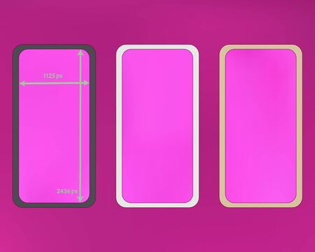 Mesh, magenta colored phone backgrounds kit. Liquid backdrop. Funny screen design set, isolated background. Clean separated groups, easy to edit. 2436x1125 ratio.