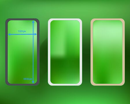 Mesh, lime colored phone backgrounds kit. Pristine separated groups, easy to edit. Professional screen design set, isolated background. Common backdrop. 2436x1125 ratio.