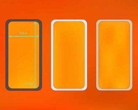 Mesh, orange red colored phone backgrounds kit. Ordinary backdrop. Minimal screen design set, isolated background. Pristine separated groups, easy to edit. 2436x1125 ratio. Иллюстрация